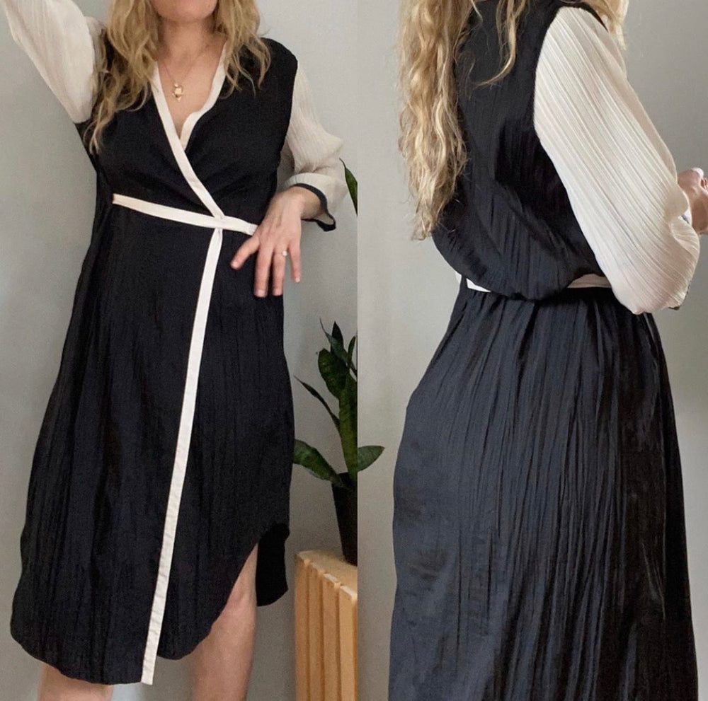 Rachel Roy Textured Wrap Black & White Dress Sz 6 (F)