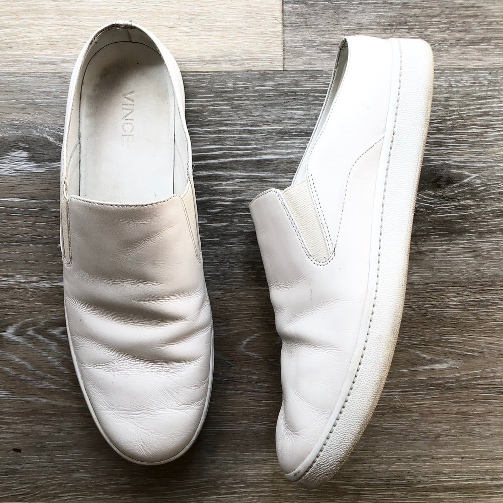 Vince Verrell White Leather Slip On Sneakers Sz 9 (f)