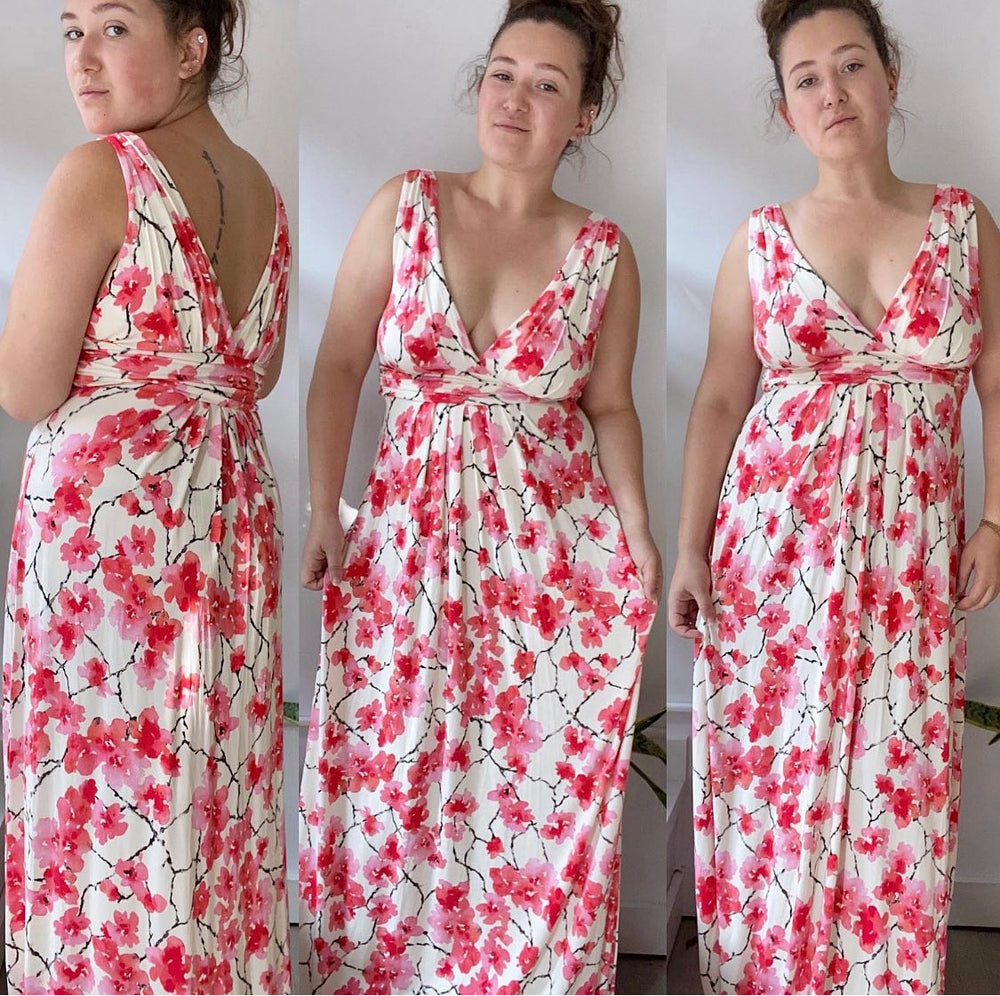 Tart Cherry Blossom Maxi Dress Sz Large