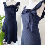Moschino Navy Pinstripe Ruffle Dress Sz M/L