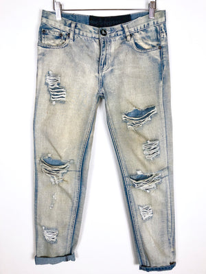 One Teaspoon Light Wash Distressed Boyfriend Skinny Jeans Sz 25 (f)