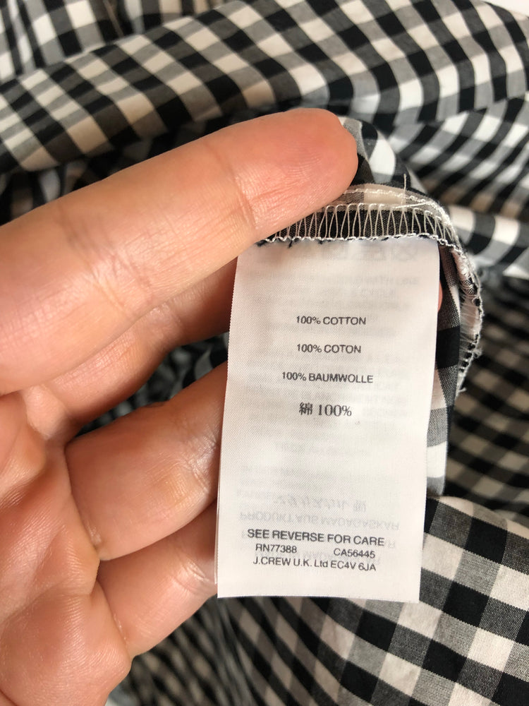 NWT Madewell Black White Gingham Tieback Mini Dress Sz Small (f)
