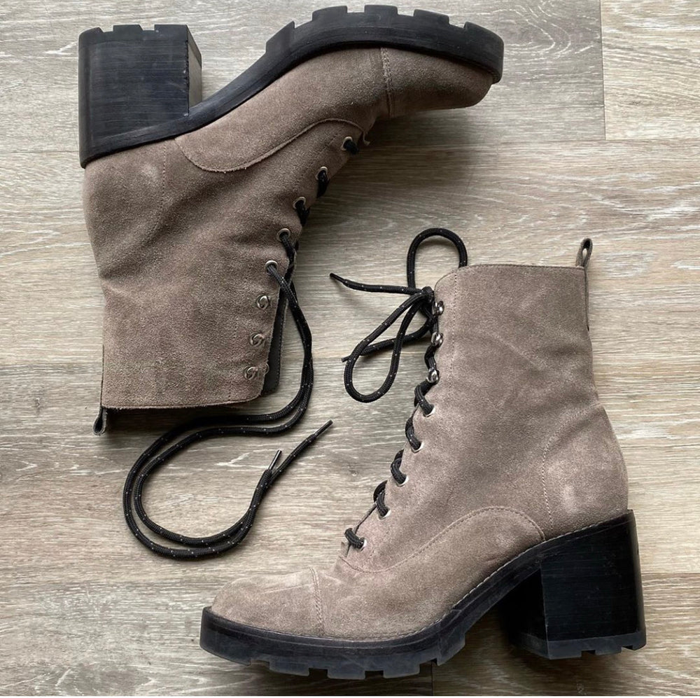 Marc Fisher Grey Suede Lace-Up Boots Sz 9