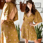 Free People Ochre Floral Open-Back Dress Sz 4
