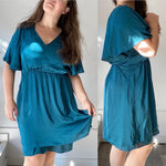 Maeve Teal Flutter Dress Sz Large