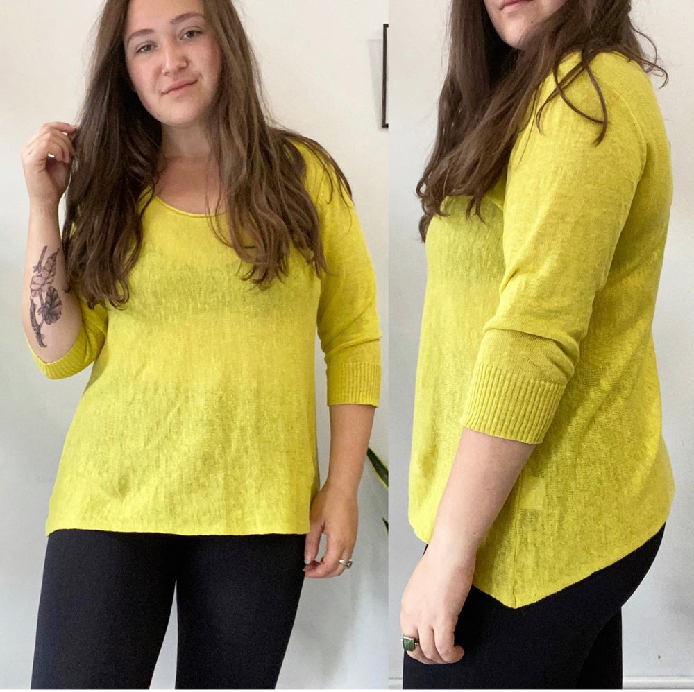 Eileen Fisher Neon Yellow Lightweight Sweater Sz Large