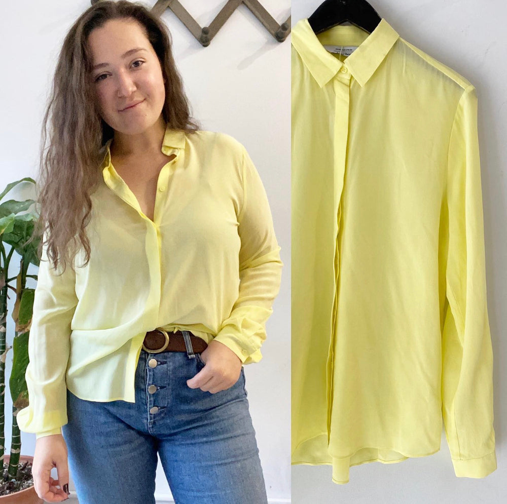 & Other Stories from Anthropologie Highlighter Yellow Delicate Blouse Sz 6