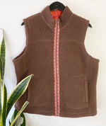 LL Bean Brown Sherpa Fleece Vest Sz Large (f)