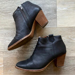Madewell Black Leather Inside-Zip Booties Sz 6
