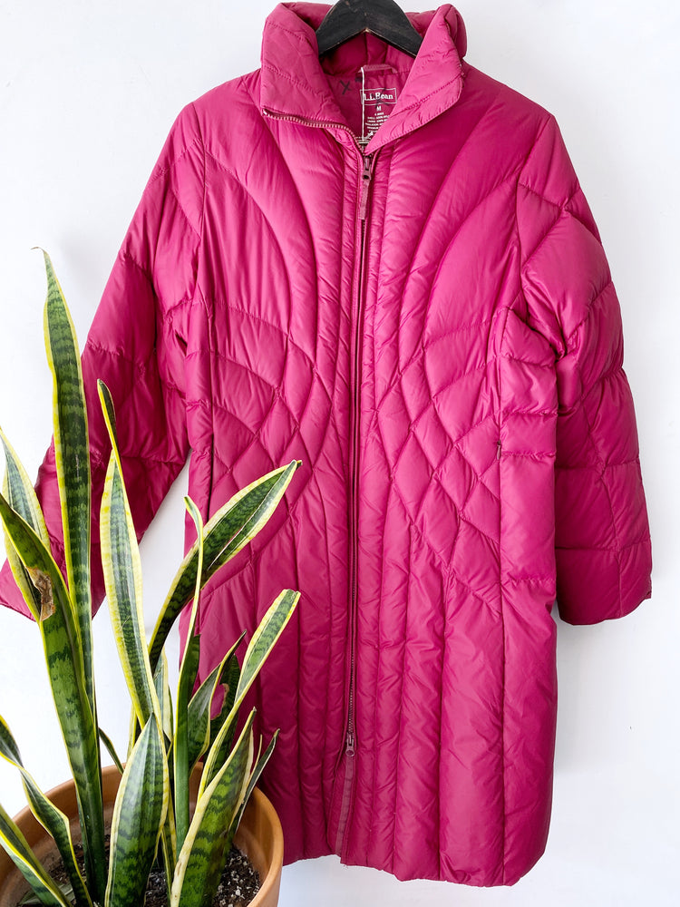LL Bean Long Magenta Goose Down Puffer Coat Sz Medium (f)
