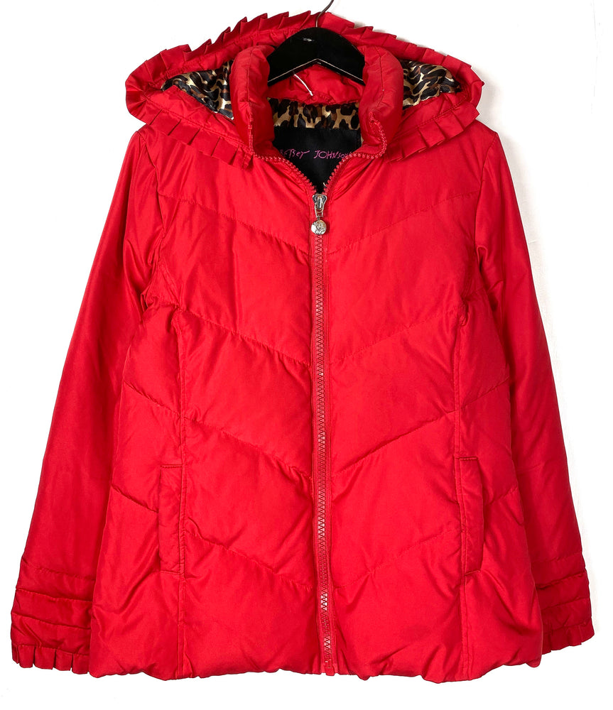 Betsey Johnson Red Goose Down Puffer Coat Sz Medium (f)