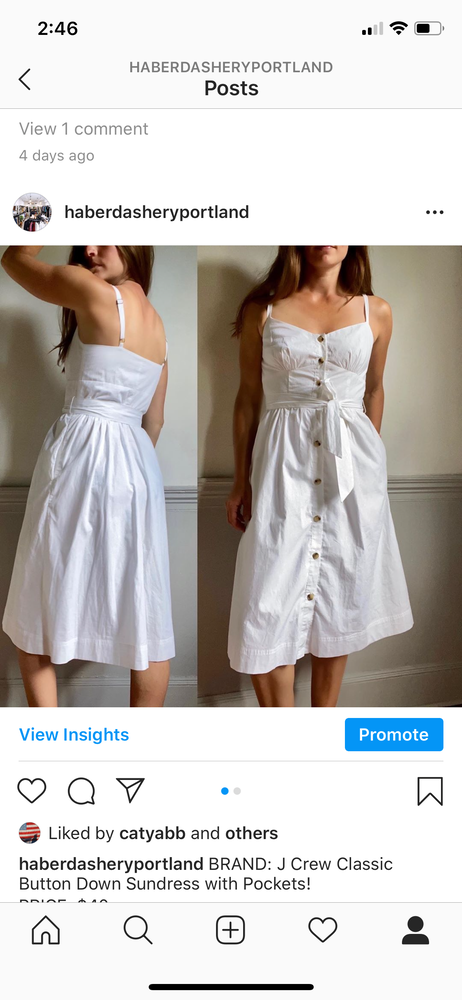 J Crew Classic Button Down Sundress with Pockets sz XS (F)