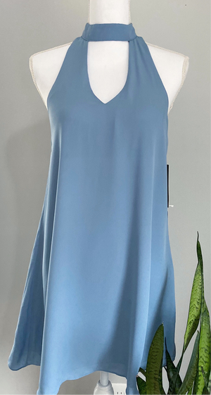 NWT Lulu's Blue High Neck Dress Sz Small (B)