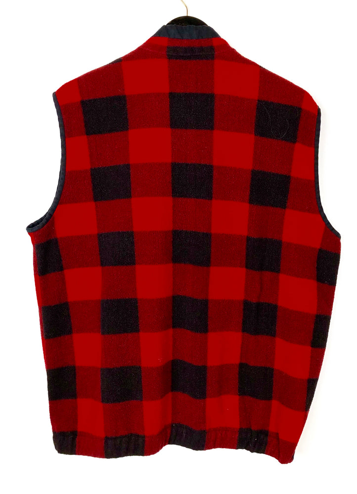 Vintage Rafaella Red Black Buffalo Check Fleece Vest Sz Large (f)