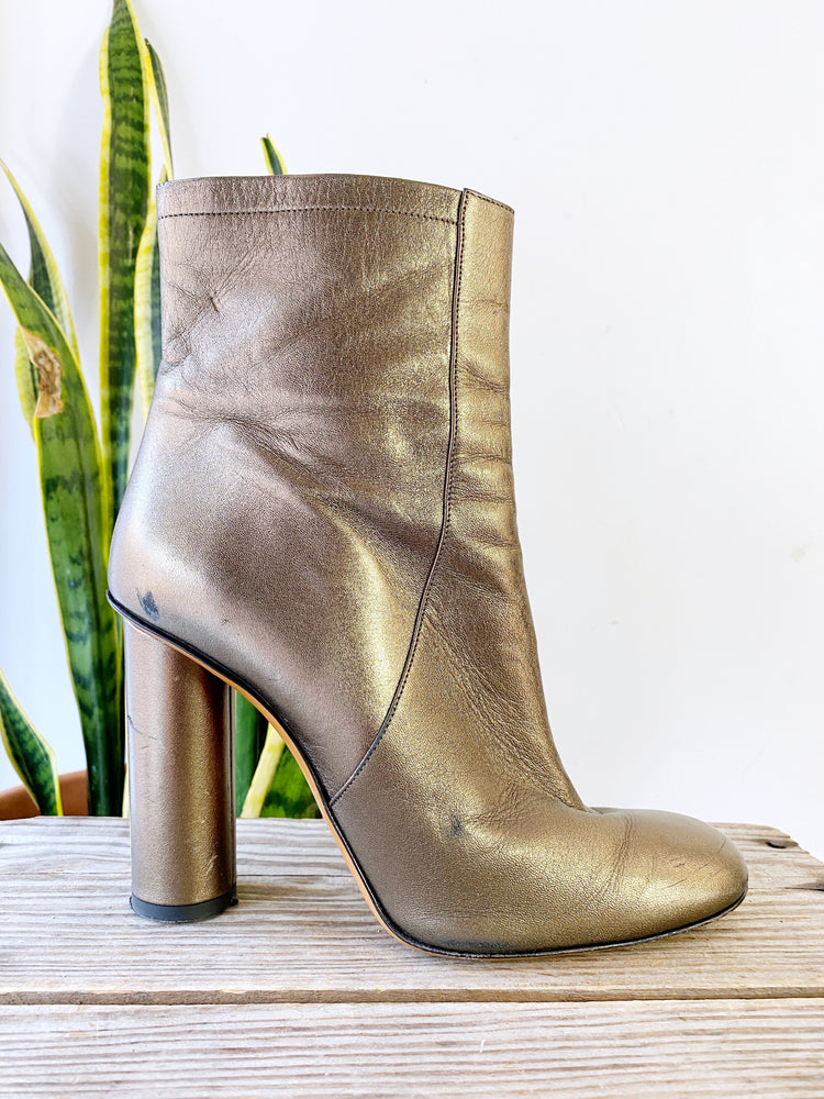 Jill Stuart Metallic Gold Tall Leather Boots Sz 40/9.5 (F)