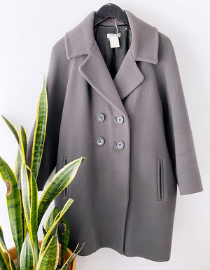 Sonia Rykiel Gray Double Breasted Peacoat Sz 38/8 (f)