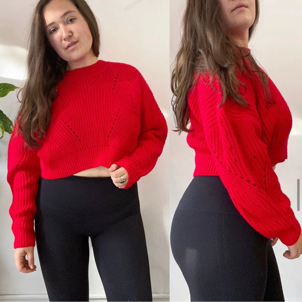 Aqua Red Crop Sweater
