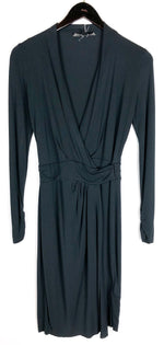 All Saints Nova Black Charcoal Wrap Long Sleeve Dress Sz 4 (f)