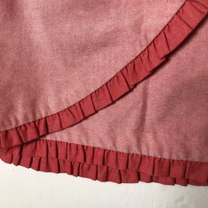 J.Crew Red Two Tone Ruffled Faux Wrap Skirt Sz 4 (f)