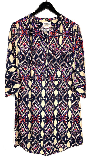 Holding Horses Purple Beige Patterned Dress Sz 4 (f)