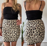 Velvet Leopard Print Knit Mini Skirt Sz Small