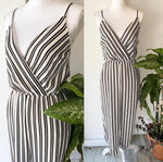Aqua B&W Stripe Jumpsuit Sz Medium AS IS