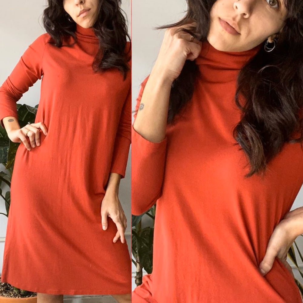 J.Jill Red Long Sleeve Turtleneck Dress Sz XS (f)