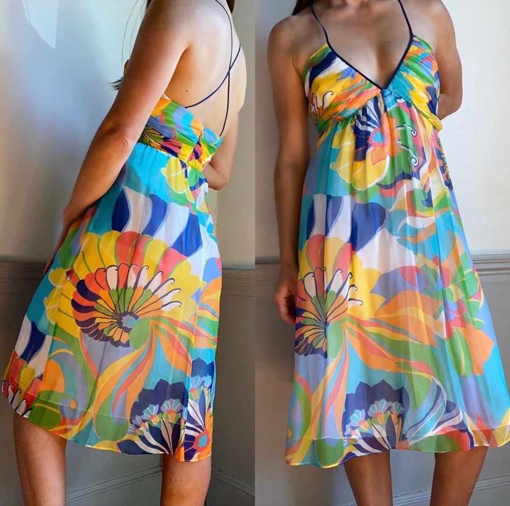 Shoshanna 100% Silk Colorful Empire Dress Sz 8 (F)