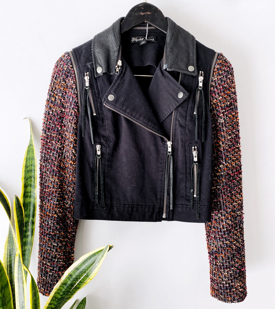 Elizabeth & James Black Colorful Sleeve Denim Moto Jacket Sz XS (f)
