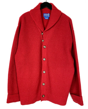 Pendleton Red 100% Lambswool Chunky Cardigan Sz XL (f)