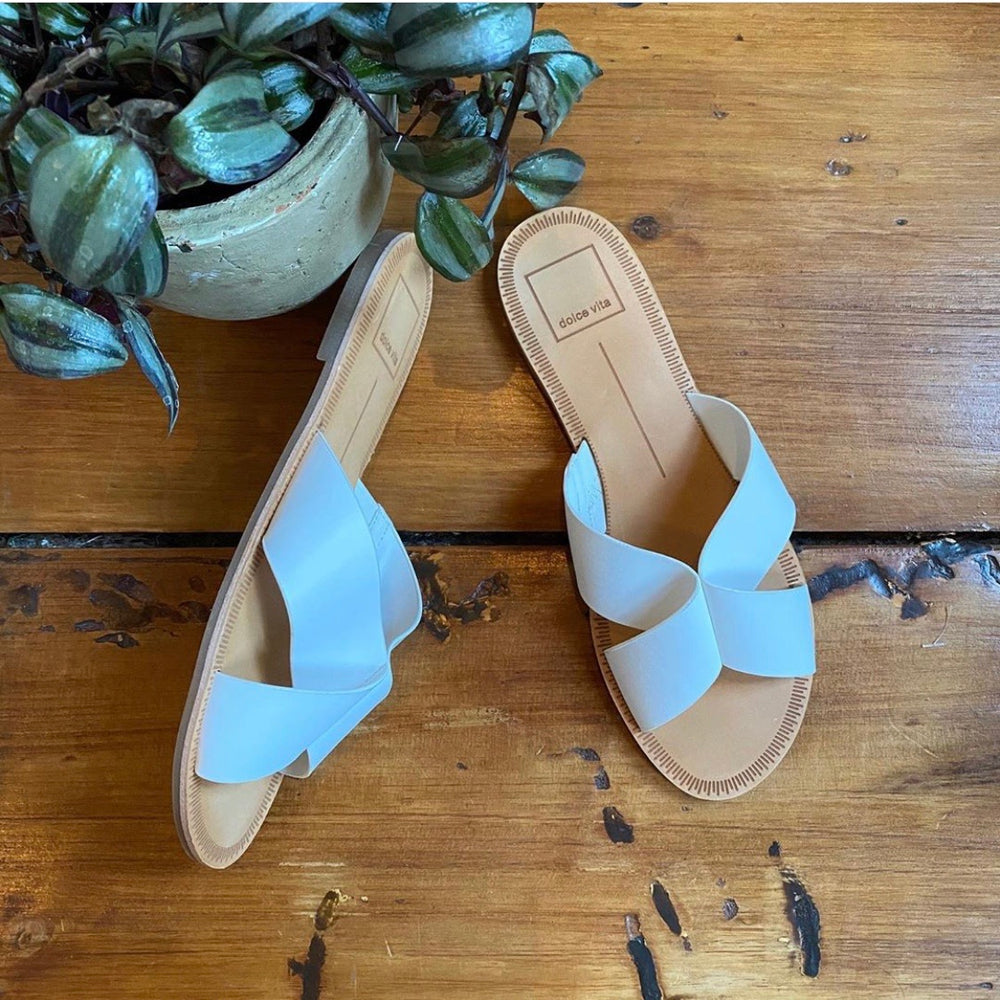Dolce Vita White Leather Slide Sandals Sz 8.5 (F)