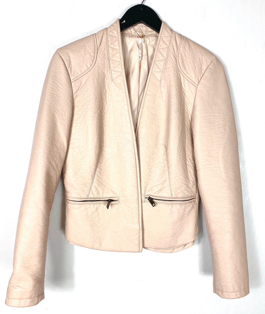 Free People Baby Pink Faux Leather Jacket Sz XS (f)