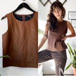 Banana Republic Brown Faux-Leather Tank Sz XS/S