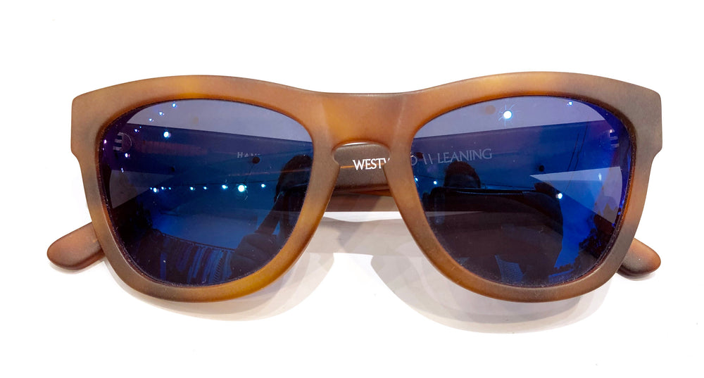 Westward Leaning Tortoise Frame Blue Mirror Lenses Sunglasses (f)