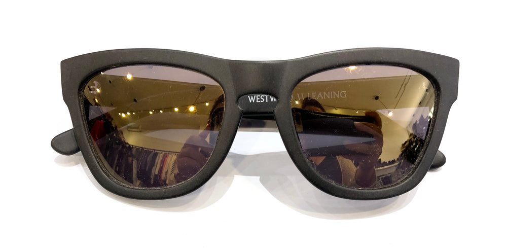 Westward Leaning Matte Black Frame Gold Lenses Sunglasses (f)