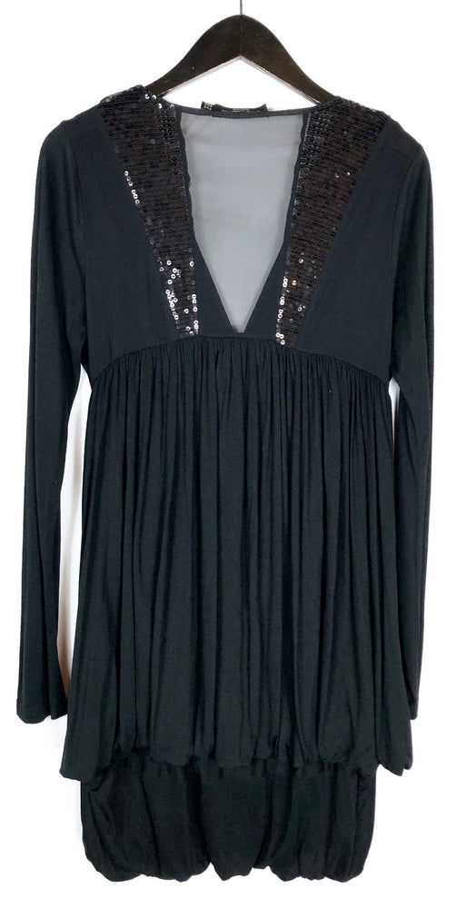 All Saints Black Misha Long Sleeve Sequin Dress Sz 10 (f)