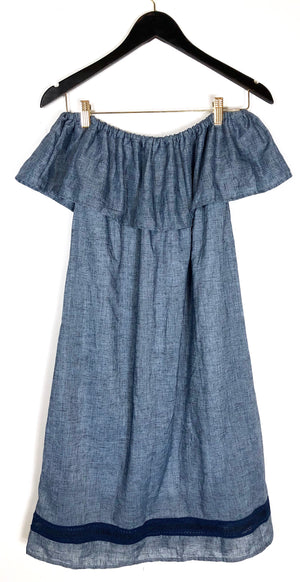 NWT Alison Andrews Chambray Off The Shoulder Dress Sz Small (f)
