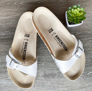 NEW Birkenstock Madrid Sandals in White Sz 38