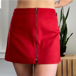 NWT Zara Red Faux Suede Skirt Sz Large (F)