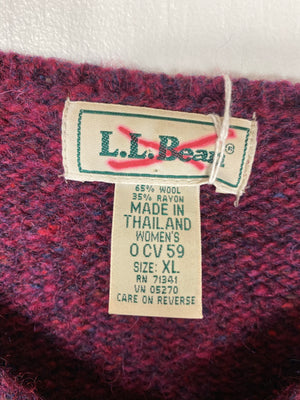 Vintage LL Bean Maroon Wool V-Neck Sweater Sz XL (f)