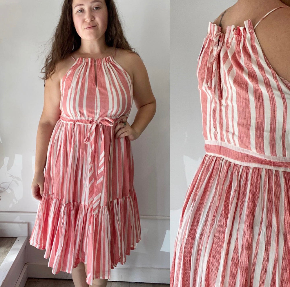 Eva Red Stripe Dress Sz Large