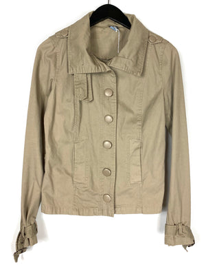 Zara Basic Khaki Crop Jacket Sz Medium (f)