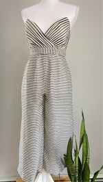 NBD Cream Navy Stripe Off The Shoulder Jumpsuit Sz XS (B)