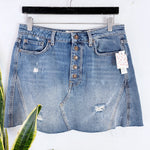 NEW Free People Button Denim Distressed Skirt Sz 30 (F)