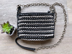 Vintage Diane Von Furstenberg Black Silver Woven Leather Crossbody (F)