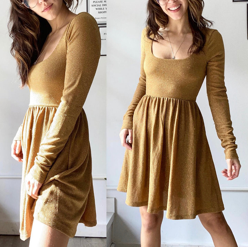 Free People Sparkly Gold Skater Dress Sz Small