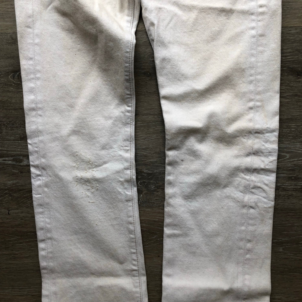 NWT Ralph Lauren Double RRL White Distressed Slim Fit Jeans 28x34 (B)