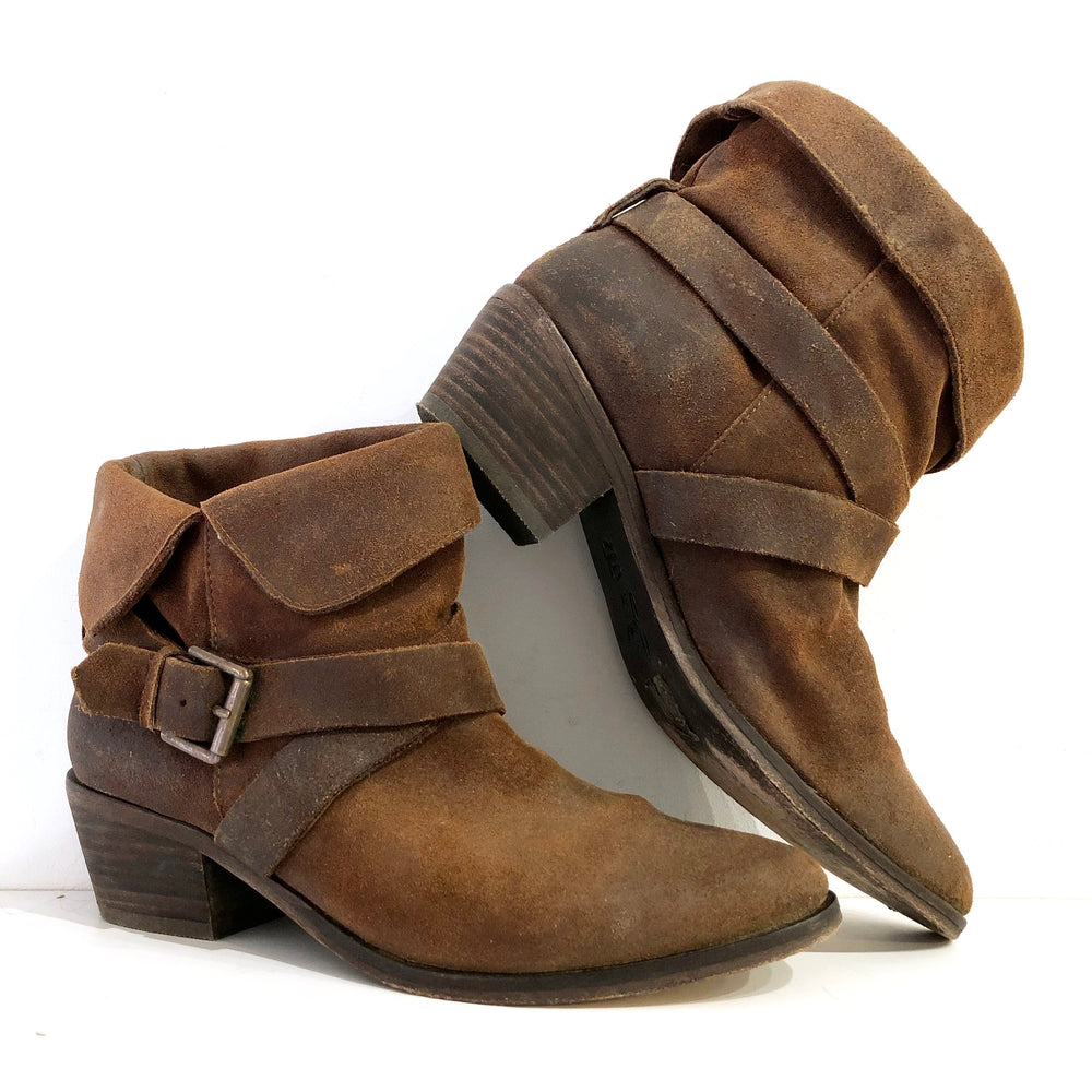 Joie Cognac Suede Leather Buckle Harness Booties Sz 7 (f)