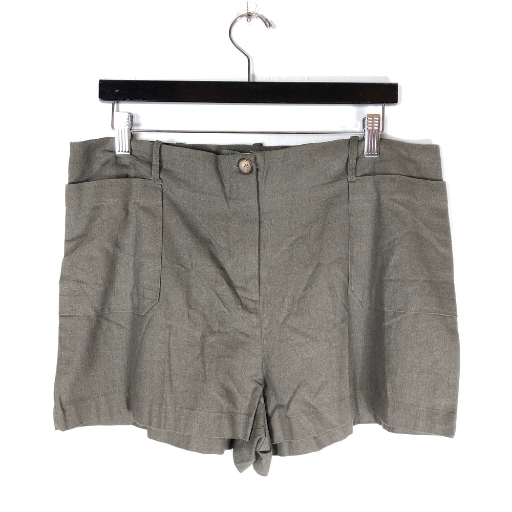 Socialite Gray Linen Blend Shorts Sz XL (f)
