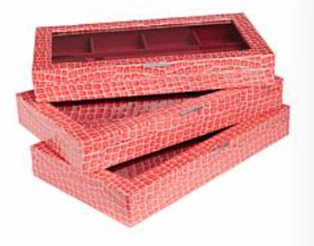 3 Piece Croco-Embossed Large Jewelry Box Set